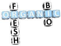Fresh Bio Organic Crossword. 3D Fresh Bio Organic Crossword on white background Stock Images