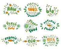 Vector set of healthy organic food labels. 100% fresh, bio, organic, eco food. Raw, green product. Vector set of healthy organic food labels. Vegetables, leaves stock illustration