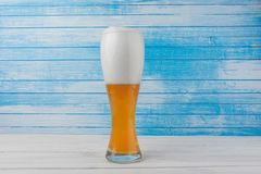 Fresh Bio Organic German Traditional Ice Cold Weiss White Natural Unfiltered Gold Beer With Snow White Foam In Tall Mug On White royalty free stock photography