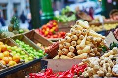 Fresh  bio parsnip on London farmer market. Fresh healthy bio parsnip on London farmer agricultural market Stock Images
