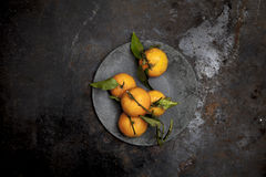 Fresh biology tangerines on black background Royalty Free Stock Images