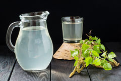 Fresh birch juice in a glass and birch branches Stock Photography