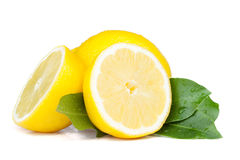 Fresh bitter juicy lemons with leafs Royalty Free Stock Photos