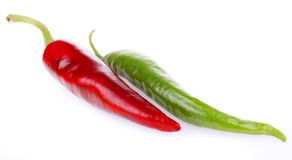 Fresh bitter and sweet pepper. Isolated on a white background Stock Photo