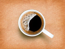 Fresh black coffee in a white cup Royalty Free Stock Photos