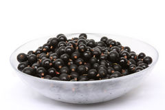 Fresh black currant in a glass bowl Stock Photo