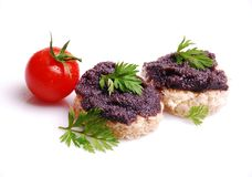 Fresh black fish caviar on the bread Royalty Free Stock Images
