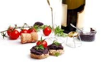 Fresh black fish caviar on the bread Royalty Free Stock Photos