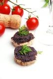 Fresh black fish caviar on the bread Royalty Free Stock Image