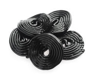 Fresh black liquorice on white background. stock image