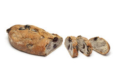 Fresh black olive bread with slices Royalty Free Stock Photography