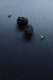 Fresh blackberries on black. Slate background with copy space Stock Photo