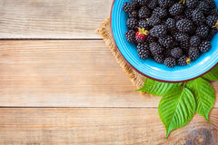 Fresh blackberries in blue ceramic bowl and leaves on wooden background in rustic style. Top view Royalty Free Stock Photography