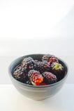 Fresh blackberries in ceramic bowl Stock Image