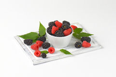 Fresh blackberries and raspberries Royalty Free Stock Photo