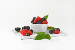 Fresh blackberries and raspberries Royalty Free Stock Photos