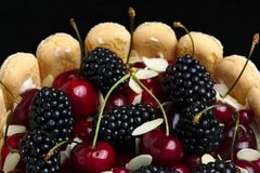 Fresh blackberry and cherry cake Stock Images