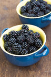 Fresh blackberry in dish on wooden texture. Fresh, bright blackberry in small, blue dish on wooden texture Royalty Free Stock Photo