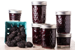 Fresh blackberry jam in jars Royalty Free Stock Images