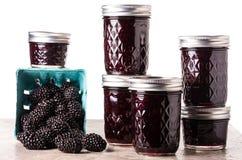 Fresh blackberry jam in jars Royalty Free Stock Images