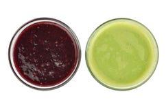 Fresh Blackberry and Kiwi Juices royalty free stock images