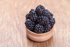 Fresh blackberrys in a bowl Royalty Free Stock Images