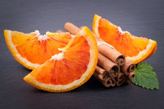 Blood oranges and cinnamon Royalty Free Stock Photo