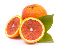 Fresh blood oranges. On white ground royalty free stock photography