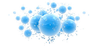 Fresh blue background. 3D rendering of an abstract background with blue shinny spheres and droplets Royalty Free Stock Photos