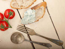 Fresh blue cheese spread ove french baguette Royalty Free Stock Photo