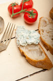 Fresh blue cheese spread ove french baguette Royalty Free Stock Photography