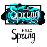 Fresh blue Hello Spring. Fresh text Hello Spring ,  illustration Royalty Free Stock Image