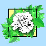 Fresh blue Hello Spring. Fresh text Hello Spring ,  illustration Stock Images