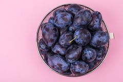 Fresh blue plums on bright background Stock Image