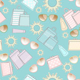 Summer pattern with sun, sunglasses and bags vector illustration