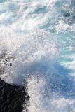 Fresh blue white surf. Blue wave breaking into clean white surf, sharp details stock photos