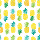 Fresh Blue Yellow Green Pineapples Vector Repeat Seamless Pattrern in Grey and Yellow Colors. Great for fabric Stock Images
