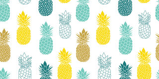 Fresh Blue Yellow Pineapples Vector Repeat Seamless Pattrern in Grey and Yellow Colors. Great for fabric, packaging Royalty Free Stock Images
