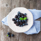 Fresh blueberries and blackberries Stock Image