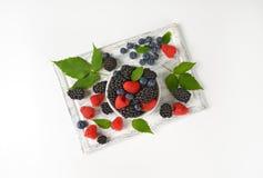Fresh blueberries, blackberries and raspberries Royalty Free Stock Photography