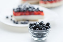 Fresh blueberries and blueberry pie. Royalty Free Stock Images