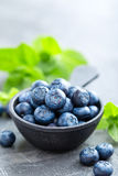 Fresh Blueberries in a bowl on dark background, top view. Juicy wild forest berries, bilberries. Royalty Free Stock Image