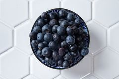 Fresh Blueberries in a bowl. On white tile hexagonal bench, wholesome fresh fruit for healthy living Stock Images