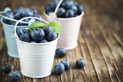 Fresh Blueberries in bucket. On wooden background Royalty Free Stock Images