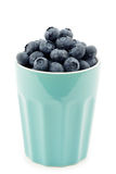 Fresh blueberries in a ceramic mug Stock Photography