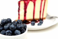 Fresh Blueberries And Cheesecake Royalty Free Stock Photography