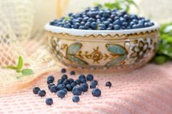 Fresh bilberry. Fresh blueberries in a clay bowl. Нealthy nutrition Stock Photography
