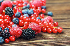 Fresh blueberries, currants, blackberries, cranberries and raspb Royalty Free Stock Photos