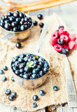 Fresh blueberries, currants and raspberries in the metallic plat. Es, autumn rustic background Royalty Free Stock Image
