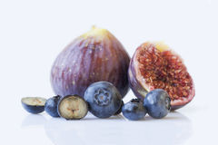 Fresh blueberries and figs  Royalty Free Stock Images